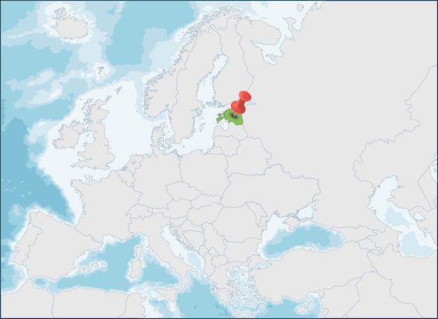 Republiek estland locatie op de kaart van europa Premium Vector
