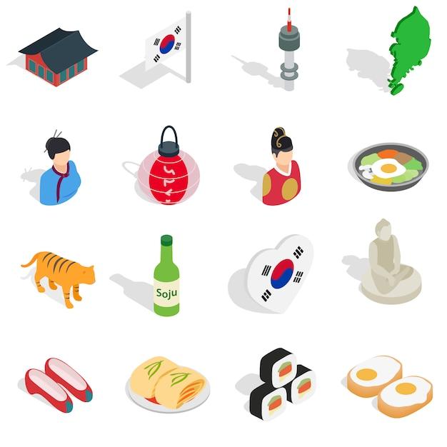Republiek korea pictogrammen instellen in isometrische 3d ctyle. zuid-korea instellen collectie vectorillustratie Premium Vector