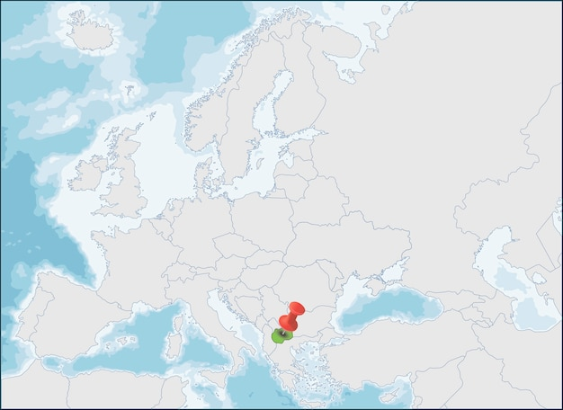 Republiek noord-macedonië locatie op de kaart van europa Premium Vector