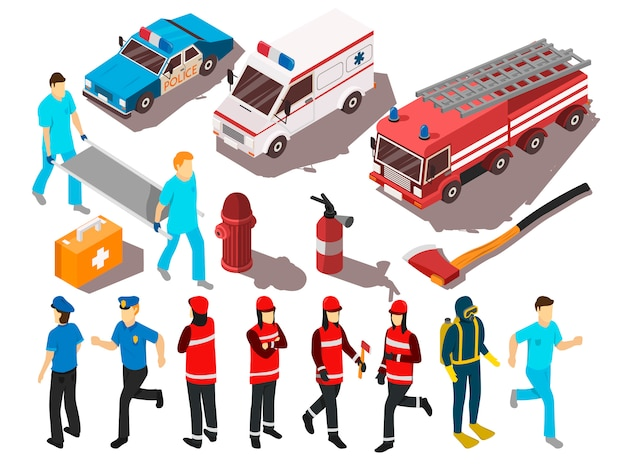 Rescue service isometrische set Gratis Vector