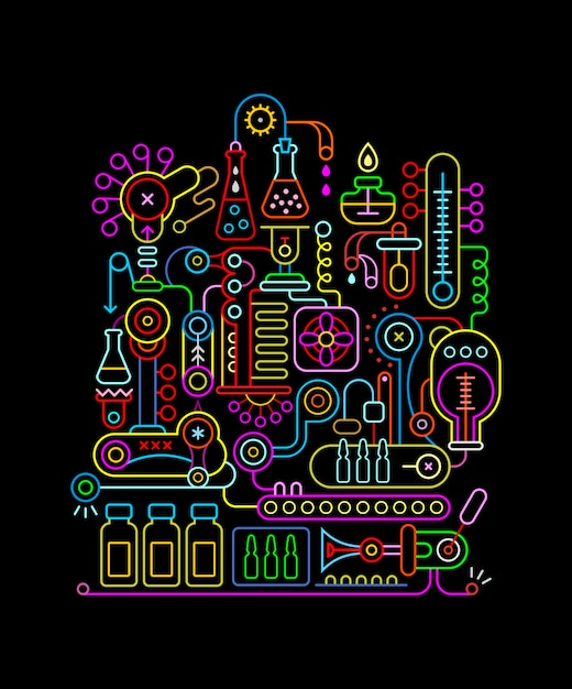 Research laboratory neon kleuren Premium Vector