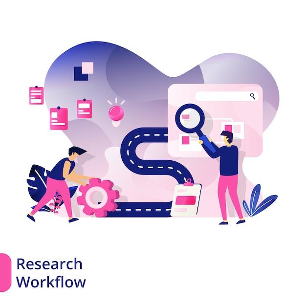 Research workflow, het concept van mannen die werkconcepten zoeken voor projecten Premium Vector