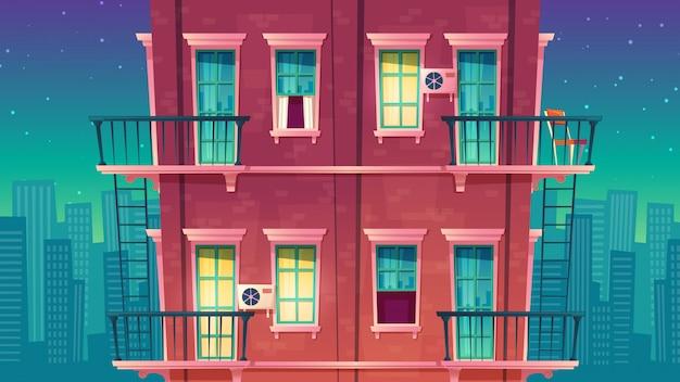 Residentieel appartement met meerdere verdiepingen 's nachts, privégebouw Gratis Vector