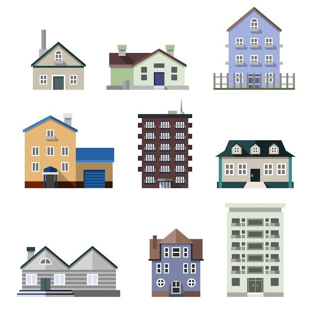 Residentiële huisgebouwen Gratis Vector
