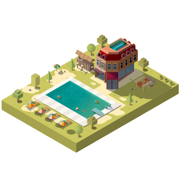 Resort hotel met zwembad isometrisch Gratis Vector
