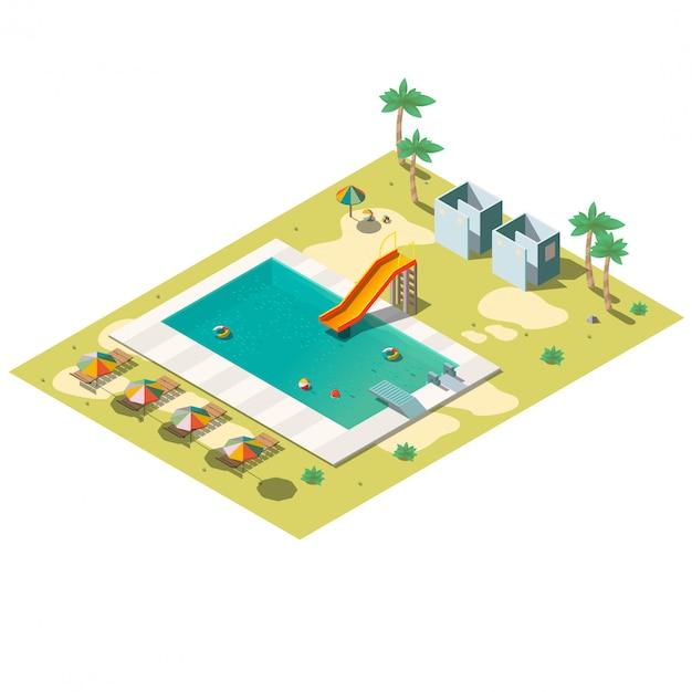 Resort zwembad isometrische illustratie Gratis Vector
