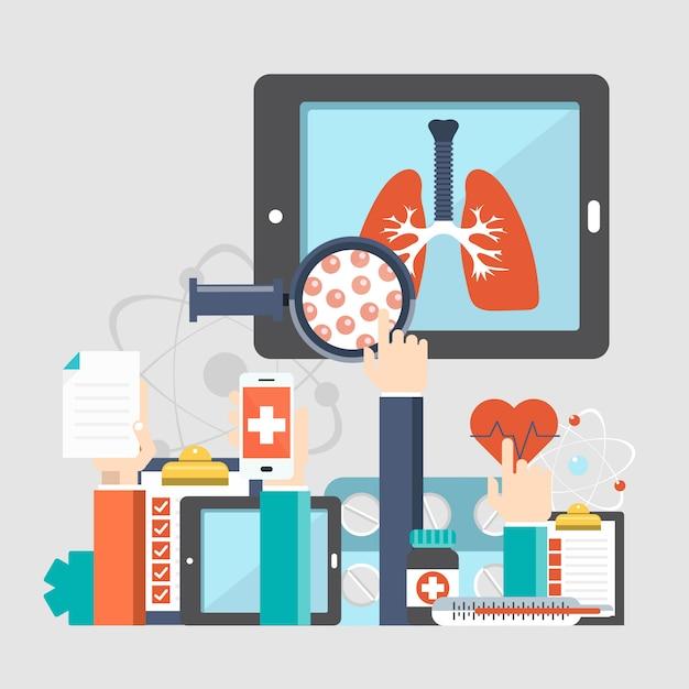 Respiratoire ziekten website achtergrond Premium Vector