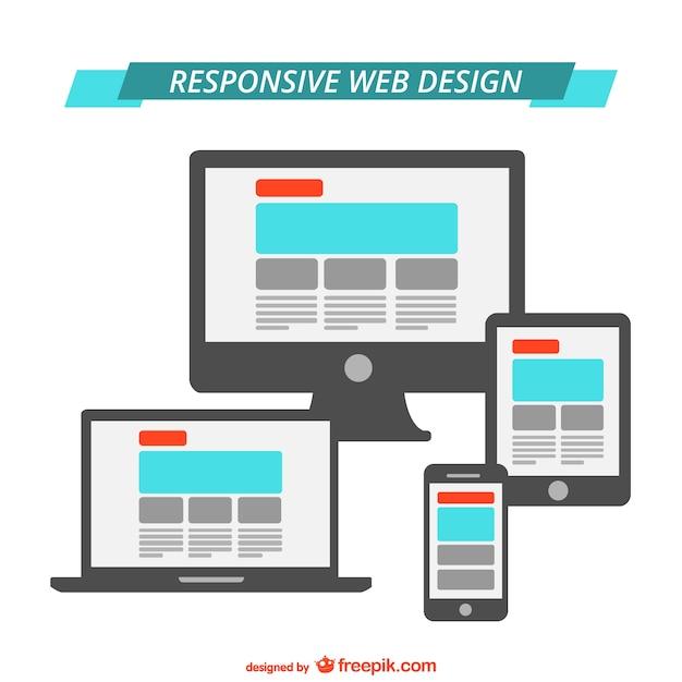 Responsieve web design flat graphics Premium Vector