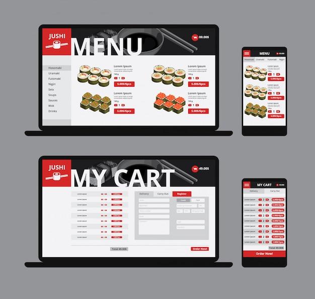 Responsive asian food web shop-sjabloon Gratis Vector
