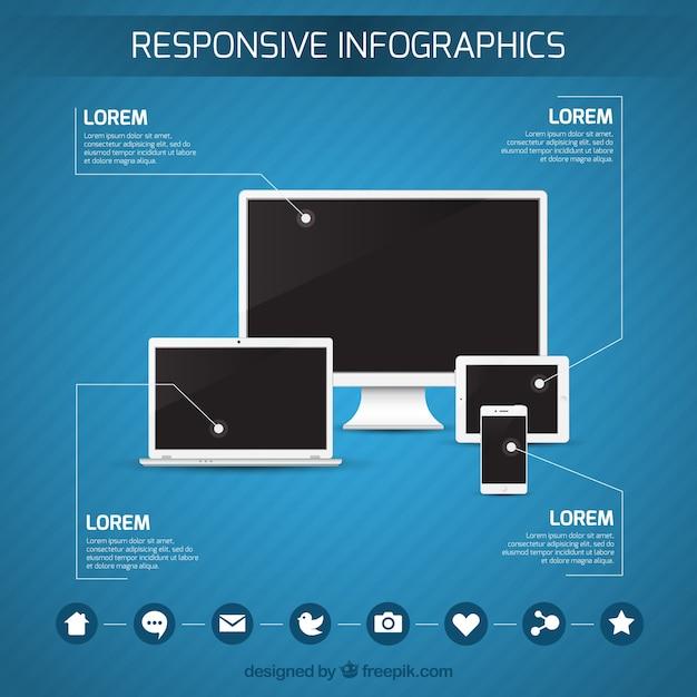 Responsive infographics Gratis Vector