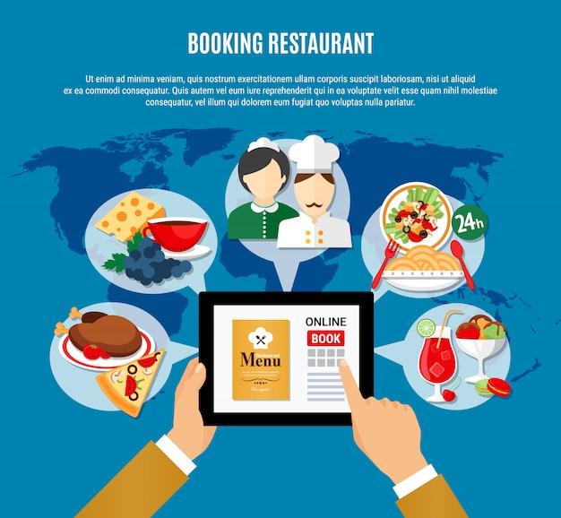 Restaurant boeking illustratie Gratis Vector