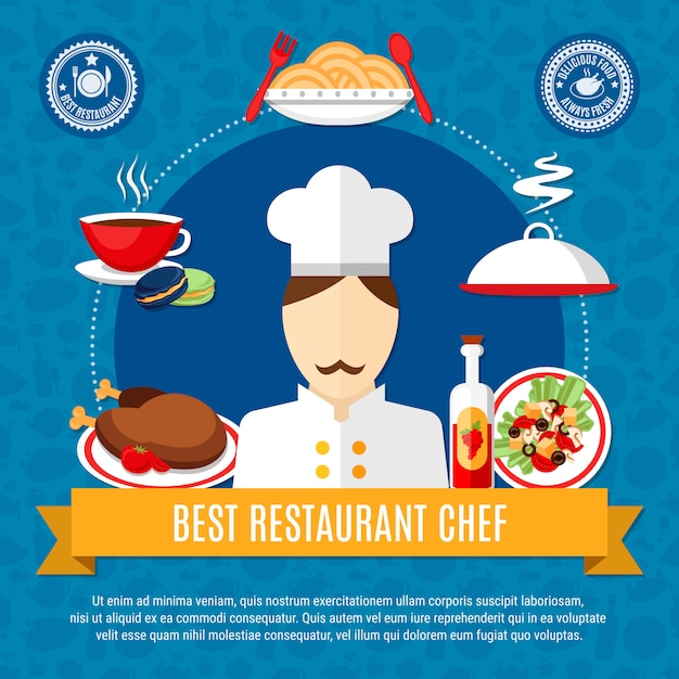 Restaurant chef illustratie sjabloon Gratis Vector