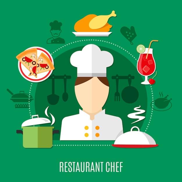 Restaurant chef illustratie Gratis Vector
