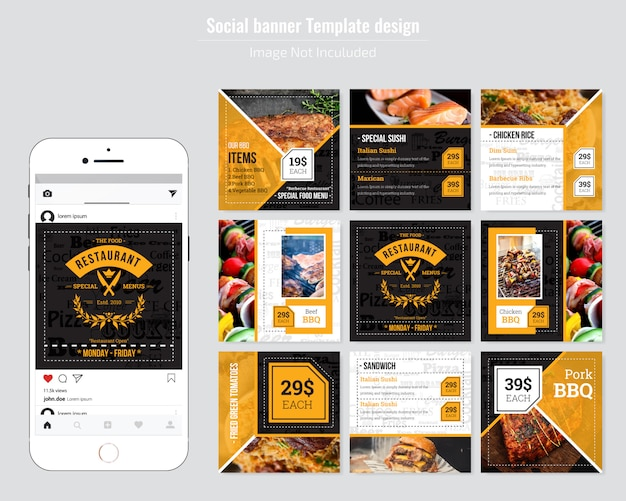 Restaurant eten menu social media template Premium Vector