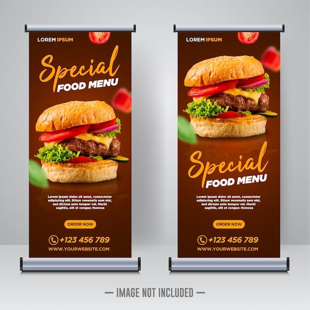 Restaurant eten sociale media banner post ontwerpsjabloon Premium Vector