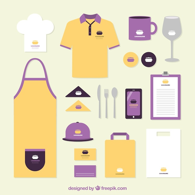 Restaurant identiteit in oranje en paars Gratis Vector