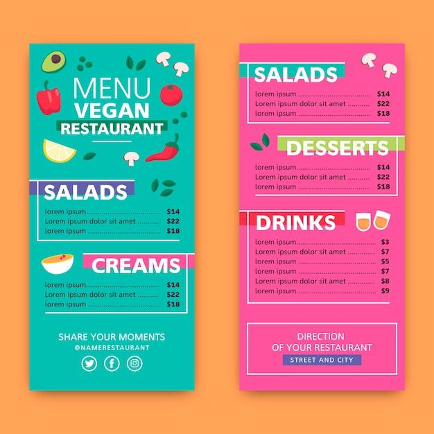Restaurant kleurrijke menusjabloon Gratis Vector