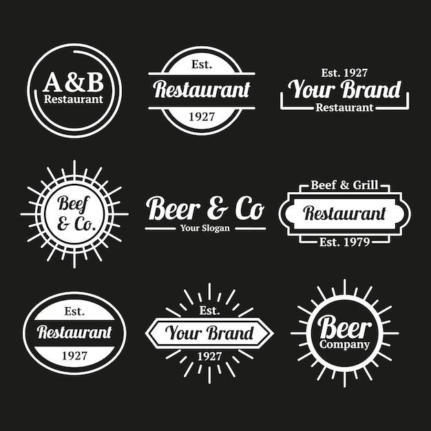 Restaurant koffie retro logo collectie Gratis Vector