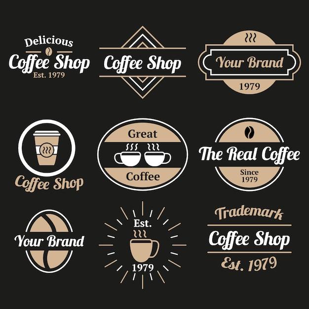 Restaurant koffie vintage logo collectie Gratis Vector