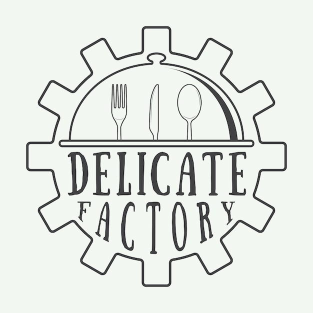 Restaurant logo badge Premium Vector