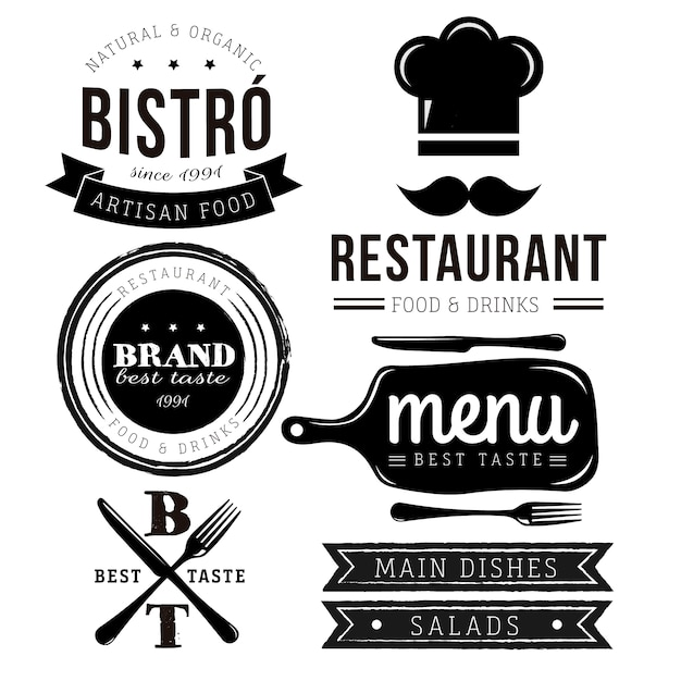 Restaurant logo collectie Gratis Vector