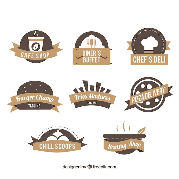 Restaurant logo's, bruine kleuren Gratis Vector