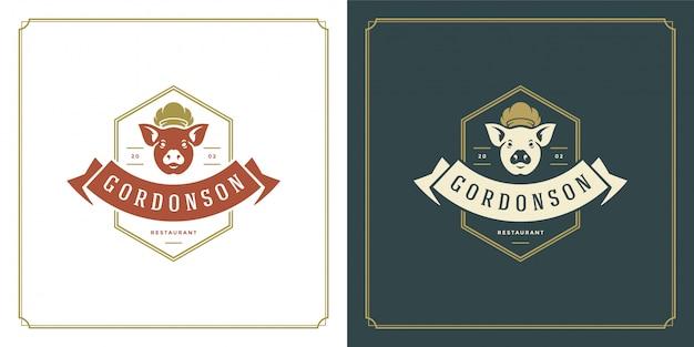 Restaurant logo sjabloon illustratie varkensvlees hoofd in chef hoed symbool en decoratie goed voor menu en café teken. Premium Vector