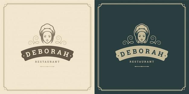 Restaurant logo sjabloon illustratie vrouw chef-kok hoofd in cap symbool en decoratie goed voor menu en café teken. Premium Vector