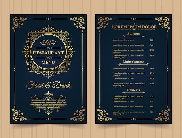 Restaurant menu gouden sjabloon. Premium Vector