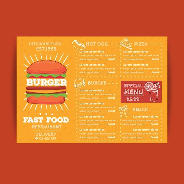 Restaurant menusjabloon in oranje tinten met hamburger Gratis Vector