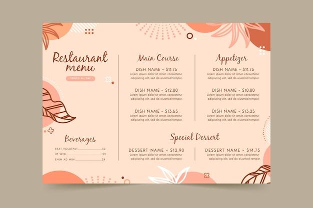 Restaurant menusjabloon met bladeren Gratis Vector