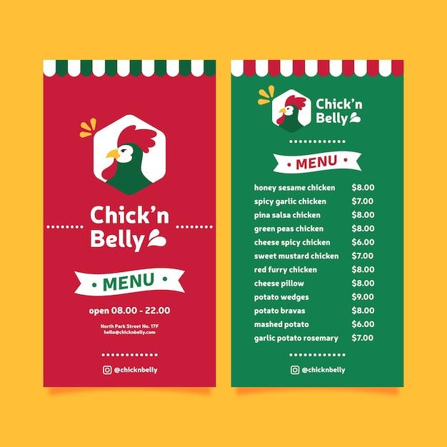 Restaurant menusjabloon met kip Gratis Vector