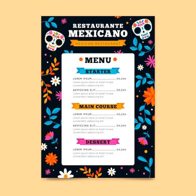 Restaurant menusjabloon met mexicaanse elementen Gratis Vector