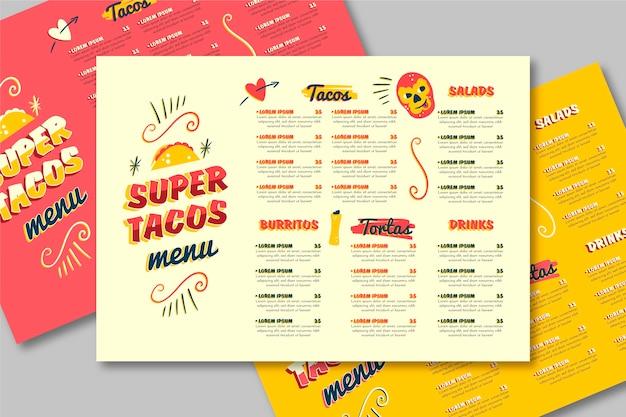 Restaurant menusjabloon met taco's Gratis Vector