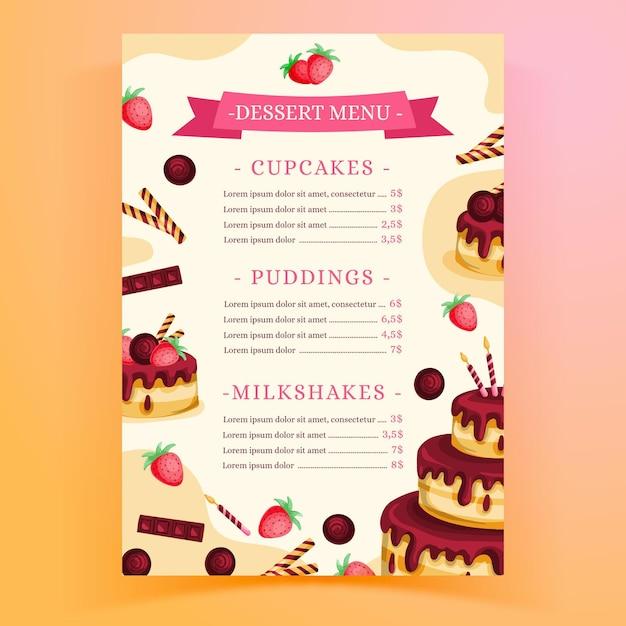 Restaurant menusjabloon voor verjaardagsfeestje met cake Gratis Vector