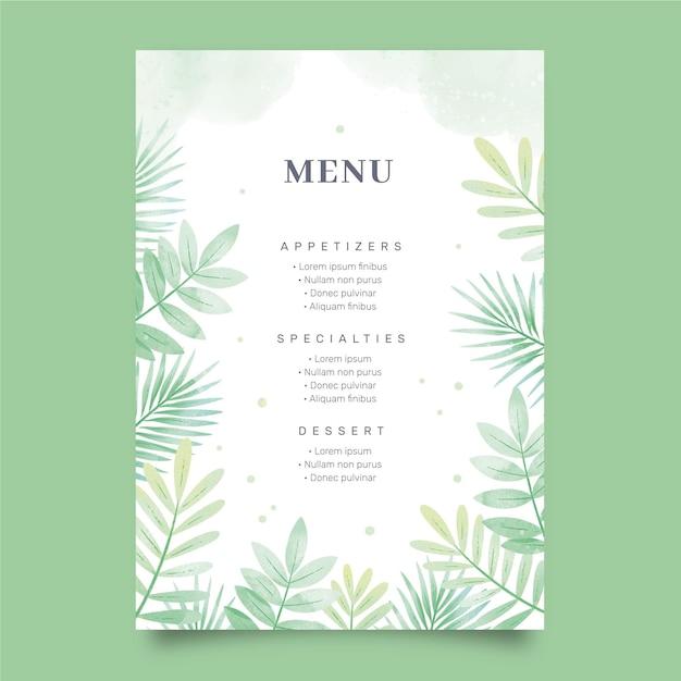 Restaurant menusjabloon Gratis Vector