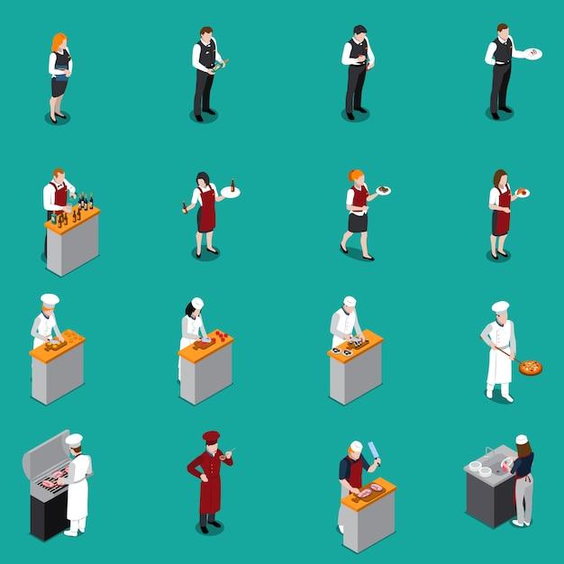 Restaurant personeel isometrische set Gratis Vector