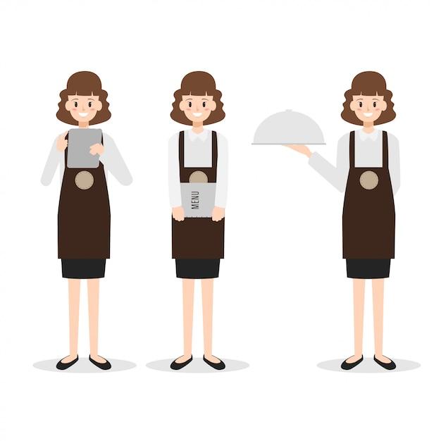 Restaurant personeel vrouw serveerster karakter. Premium Vector