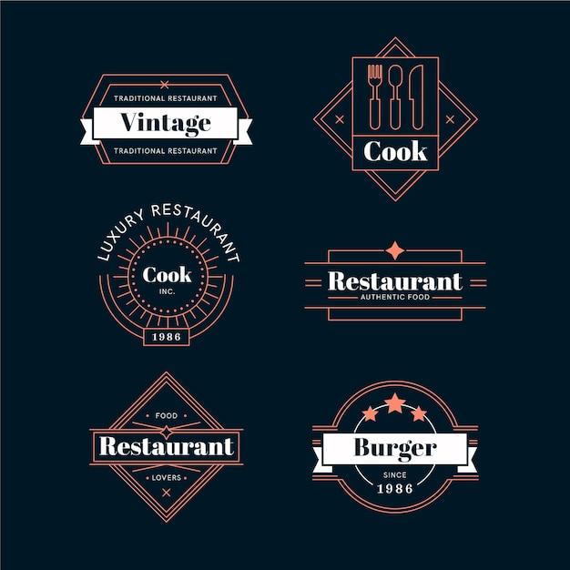 Restaurant retro logo collectie Gratis Vector