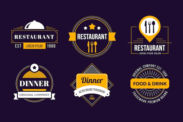 Restaurant retro logo collectie Gratis Vector