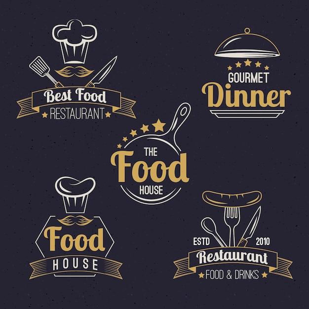 Restaurant retro logo pack Gratis Vector
