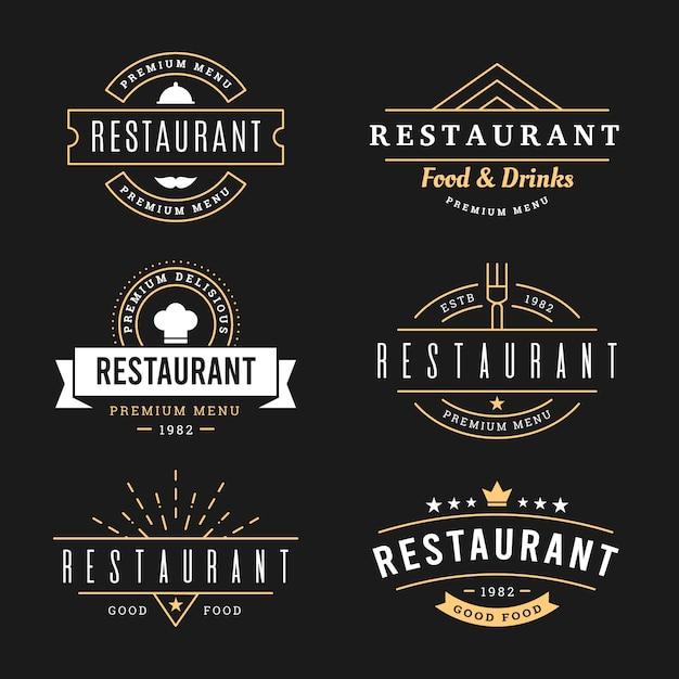 Restaurant retro logo sjabloon pack Gratis Vector