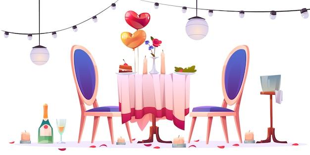 Restaurant tafel na romantische dating illustratie Gratis Vector