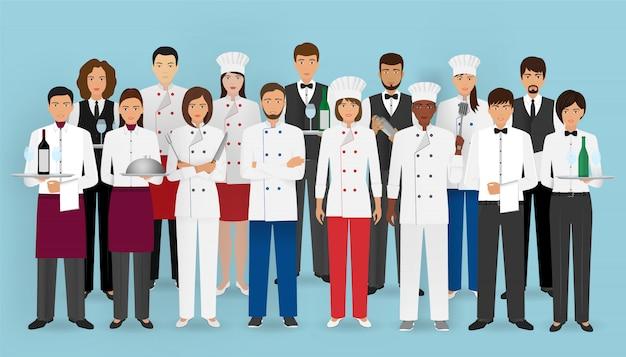 Restaurant team in uniform. groep tekens van cateringservice: chef-kok, kok, obers en barman. Premium Vector