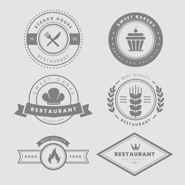 Restaurant vintage logo set Gratis Vector