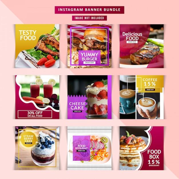 Restaurant voor sociale mediapost Premium Vector