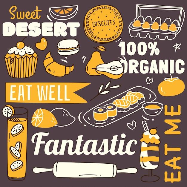 Restaurantachtergrond met divers voedsel in krabbelstijl. Premium Vector