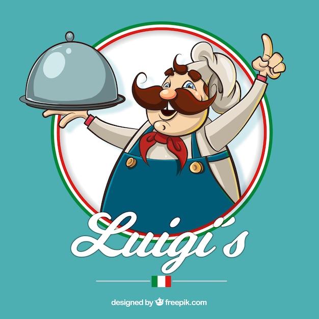 Restaurantachtergrond met hand getrokken italiaanse chef-kok Gratis Vector