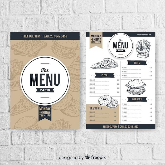Restaurantmenu in vintage stijl Gratis Vector