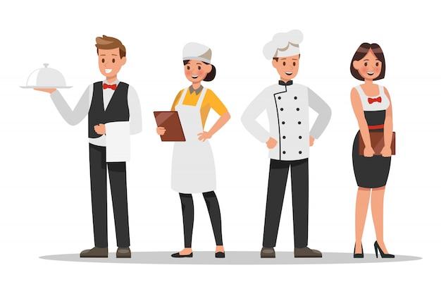 Restaurantpersoneel karakters. inclusief chef, assistenten, manager, serveerster Premium Vector